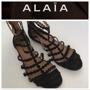 ALAIA BLACK SUEDE CAGED GLADIATOR FLATS SIZE 8